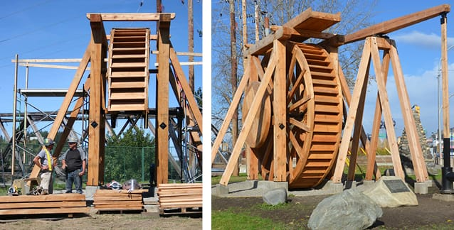 Wooden water wheel under construction then completed